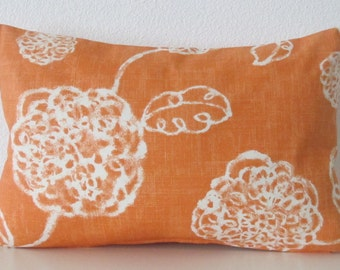 Adele Tango, lumbar pillow cover, orange accent pillow cover, floral pillow cover, botanical pillow cover
