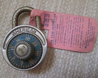 vintage American Lock Co. combination padlock with original hangtag