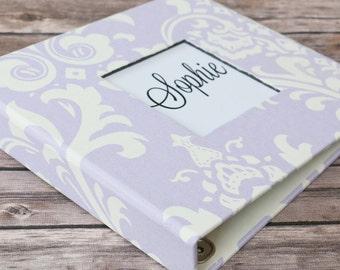 Baby Book, Baby Gift, Baby Album, Baby Memory Book, Baby Keepsake, Modern Baby Book, Lavender Damask Album
