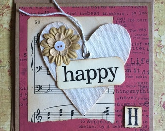 Happy Themed Canvas Heart Handmade Card