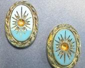 15% OFF SALE Vintage Glass Cabochons 2 18x13 Rare Art Deco Turquoise Gold Stones S-33