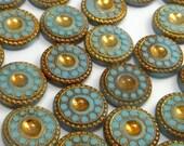 SALE Vintage Glass 13mm Cabochon RARE 10 pcs Gold Turquoise Stones S-31 C