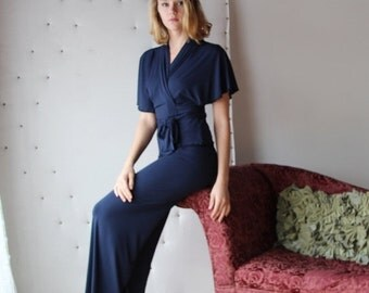 bamboo pajama set including lounge pants and bed jacket - ICON bamboo sleepwear and lingerie range - made to order