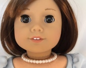 American Girl Sized White Pearl Beaded Choker Necklace