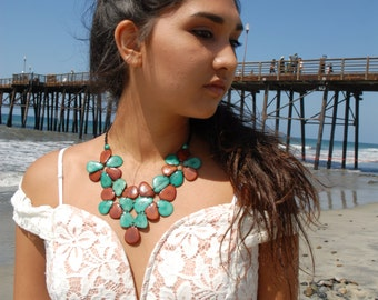 T.V. Anchor tagua nut leaves bib necklace aqua/blue  or teal/brown by Allie/leaf jewelry