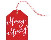 Merry Merry - set of 6 letterpress tags