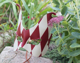 Jester Cat Leather Mask Red and White
