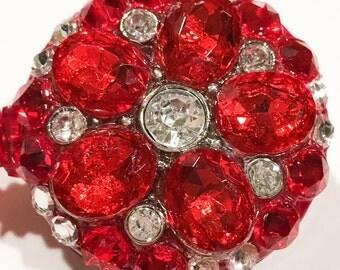 Swarovski Red Crystal Rhinestone Flower Embellished Retractable ID Name Tag Badge Reel  Multiple Color Options