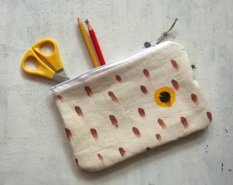 yellow eye hand painted pencils pouch handmade in cotton - zippered purse