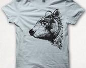 Mens Tshirt, Bear Shirt, Black Bear, Bear Tshirt, Screenprinted Shirt, Graphic Tee - Pale Blue