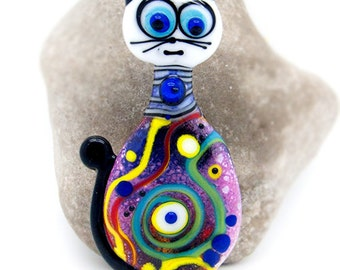 RESERVED for * Ann R. * - Soul Cat Nr. 2 - Glass Art - Lampwork, Statement, Sinature focal bead by Michou P. Anderson