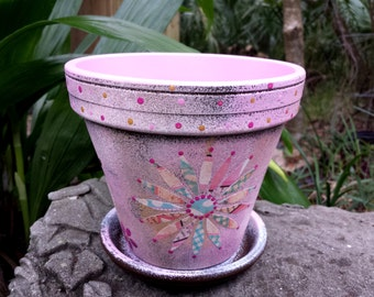 Painted Flower Pot - Multi-Media Planter -  Boho Flower Pot - Pink Flower Pot