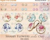 30% OFF SALE - Shabby Flowers Circles 13 mm - Digital Collage Sheet for 12 mm Earrings - Bottlecaps - Pendants - Magnets - Buttons