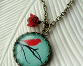 Aqua Turquoise Bird on a Branch Necklace. Red. Black