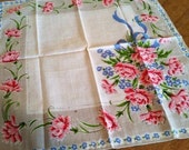 RESERVED! Vintage Stickered Burmel Pink Mums And Blue Forget-Me-Nots Handkerchief