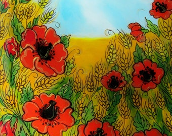 Sale, Original Glass Painting, Red Poppies in the Field