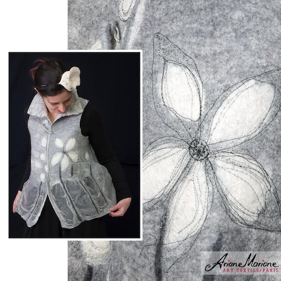 Merino Wool Silk Art Vest, Embroidered Nuno Felt Women Vest, Wearable Art Garments Paris Design, Reversible Original Fiber Art