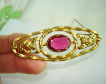 Ruby Red Stone Brooch Gold Tone