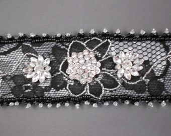 Girl's Night Out Rhinestone and Lace Cuff