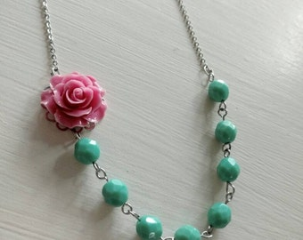 Pink and Mint Flower Necklace. Pink. Coral. Turquoise. Bridesmaid Necklace. Bridal Jewelry. Silver Necklace. Rose. Turquoise Necklace.