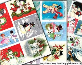 Christmas Snowmen Vintage Printable Digital Download