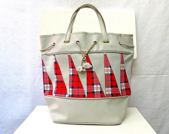 1960s Vintage Tote Bag / Grey Red White Blue Plaid Applique Sailing Bag