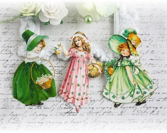 St. Patty Girls Die Cut Embellishments for Scrapbooking, Cardmaking, Mixed Media, Altered Art