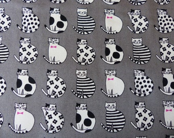 1/2 yard - Monotone cats, Westex, Japanese import