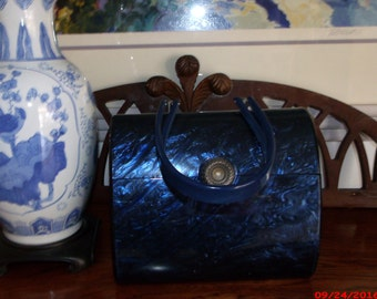 Holiday Shopping Sale Vintage 50s Wilardy Sapphire Blue Lucite Purse Handbag GORGEOUS