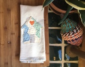 cotton tea towel • vintage quilt • home appliqué kitchen towel • handmade cup towel • repurposed quilt house design • quilt tea towel