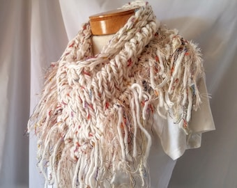 White knit scarf Fringe triangle shawl Wool blend wrap Spring Knits Ladies neck warmer Shoulder wrap Cover up Cream Neutral accessory