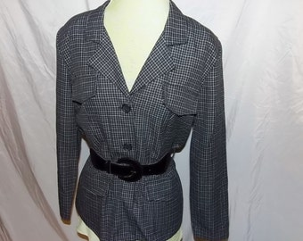 Vintage Plaid Belted Jacket, Inclinations, Black White Plaid, Made In USA, Career Wear, Business Suit Separates, Professional Attire Size 10