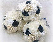 Brooch Bouquets, Navy Blue, Silver, Ivory, Bridesmaids Bouquets, Wedding, Maid of Honor, Brooch, Pearls, Crystals, Elegant, Vintage Style