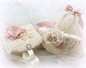 Flower Girl Basket, Ring Bearer Box, Ivory, Blush, Champagne, Tan, Ring Box, Elegant Wedding,Vintage Style, Jewelry Box, Pearls, Lace