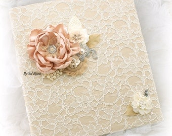 Photo Album, Ivory,Champagne,Tan, Blush,Lace Album, Vintage Style,Elegant, Wedding Photo Album,Anniversary, Birthday, Lace, Pearls, Crystals