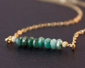 40 OFF SALE Raw Emerald Necklace - Green Emerald Jewelry - 14K Gf, May Birthstone