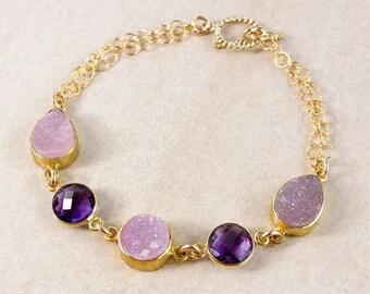 ON SALE Purple Amethyst Quartz Bracelet – Pink Druzy – 14K Gold Filled