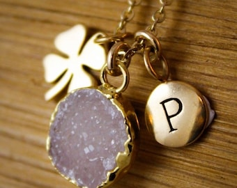 ON SALE Gold Druzy and Four Leaf Clover Charm Necklace - with Initial Letter - Choose Your Druzy