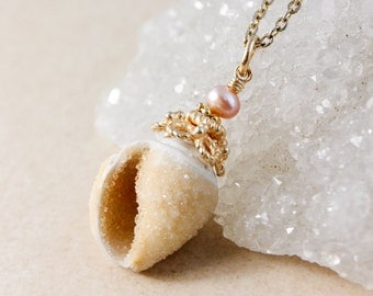 Golden Druzy Seashell & Pearl Necklace - Choose Your Pendant - 14KT GF