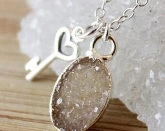 50 OFF SALE Oval Druzy Necklace with Heart Key Charm Necklace - 925 Silver - Key Jewelry