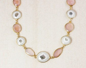 40 OFF SALE Pink Chalcedony and Solar Quartz Bib Necklace – 14K Gold Filled Chain