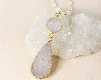 Lavender Agate Druzy Layering Necklace – Rainbow Moonstone Chain
