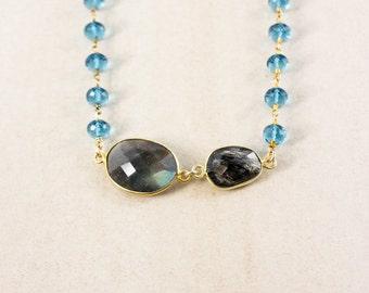 Swiss Blue Quartz Layering Necklace – Blue Labradorite and Black Rutile Quartz