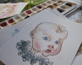 Custom Portrait: Quick 6x8 Watercolor and Ink Portrait