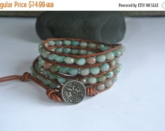 30% OFF SALE Ombre Agate Beaded Leather Wrap Bracelet