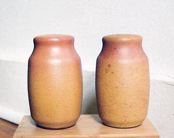 Vintage Handmade Ceramic Salt and Pepper Shakers Organic Earthy Orange Harvest Yellow.