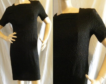 Vtg 1960s Textured Little Black wiggle Dress by Marta 'D Medium
