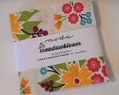 """Moda Meadowbloom Charm Pack, 5"""" Squares, Yellow Green Pink Blue Purple, Flowers and Dots, Cotton Quilting Fabric Squares, Quiltsy Destash"""