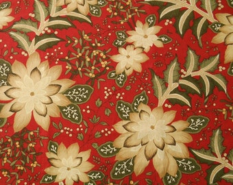 Cotton Christmas Fabric from Moda's Merriment Collection, Red Green and Cream Poinsettias, Pattern 32890, Quiltsy Destash