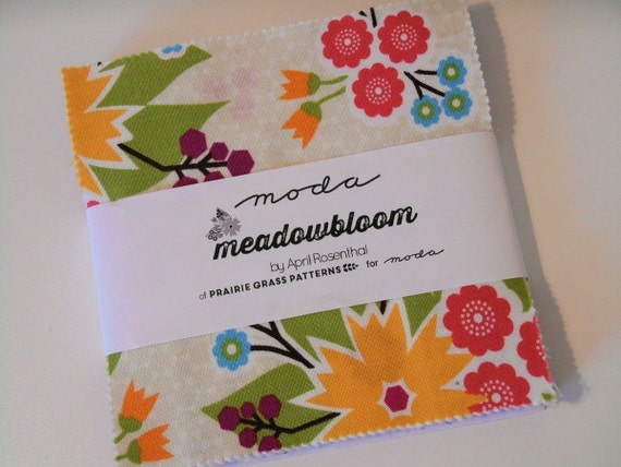 "Moda Meadowbloom Charm Pack, 5"" Squares, Yellow Green Pink Blue Purple, Flowers and Dots, Cotton Quilting Fabric Squares, Quiltsy Destash"